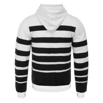 Broad Stripe Print Hooded Flocking Hoodie - WHITE/BLACK L