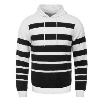 Broad Stripe Print Hooded Flocking Hoodie