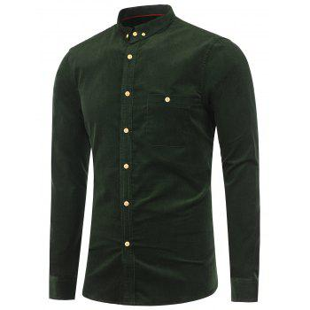 Corduroy Pocket Button Down Shirt - ARMY GREEN M