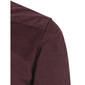 Corduroy Pocket Button Down Shirt - BURGUNDY BURGUNDY