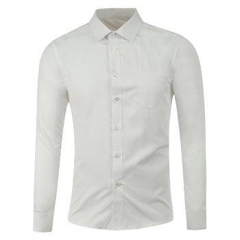 Pocket Button Front Plain Shirt