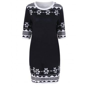 Plus Size Snowflake Print Sheath Dress