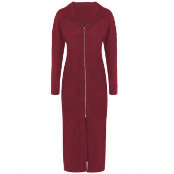 Plus Size Zip Front Bodycon Hooded Dress with Long Sleeves