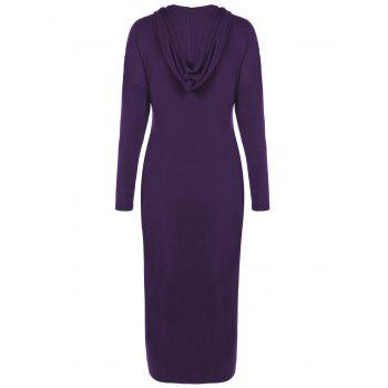 Plus Size Zip Front Bodycon Hooded Dress with Long Sleeves - DEEP PURPLE DEEP PURPLE