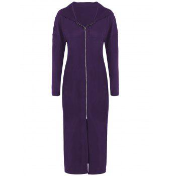 Plus Size Zip Front Bodycon Hooded Dress with Long Sleeves - DEEP PURPLE 3XL