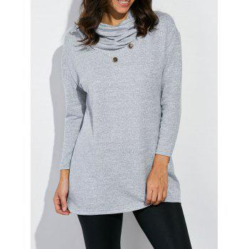 Cowl Neck Button Design Tee