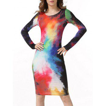 Watercolor Print Long Sleeve Bodycon Dress
