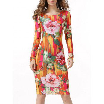 Floral Bodycon Knee Length Dress With Long Sleeves