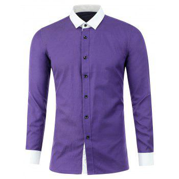 Texture Button Up Two Tone Shirt - PURPLE PURPLE