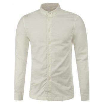 Long Sleeve Plain Button Up Shirt - WHITE XL