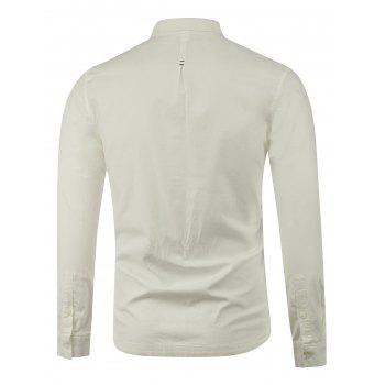 Long Sleeve Plain Button Up Shirt - WHITE WHITE