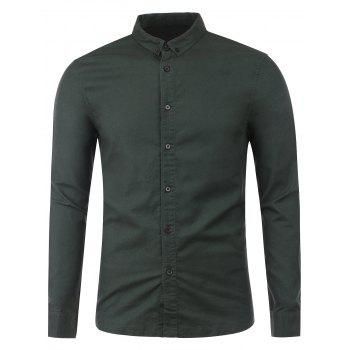 Long Sleeve Plain Button Up Shirt - BLACK GREY S
