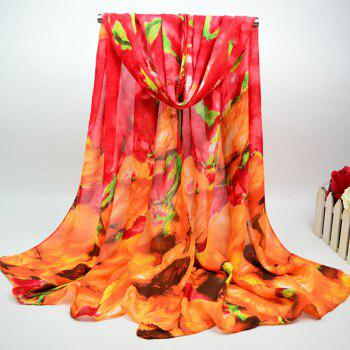 Big Floral Oil Painting Cotton Blend Chiffon Scarf