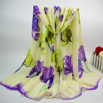 Tulip Painting Cotton Blend Chiffon Scarf