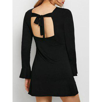 Flare Sleeve Round Neck Cut Out Dress