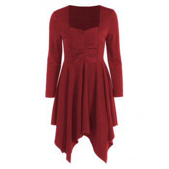 Long Sleeves Ruched Asymmetric Swing Dress