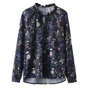 Ruffled Neckline Printed Blouse