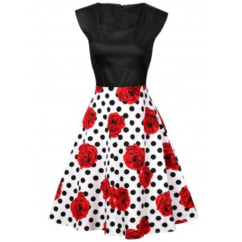 Polka Dot Floral Knee Length Flare Dress - BLACK AND WHITE AND RED BLACK/WHITE/RED