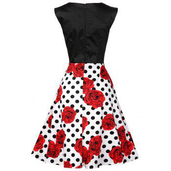 Polka Dot Floral Knee Length Flare Dress - BLACK/WHITE/RED L