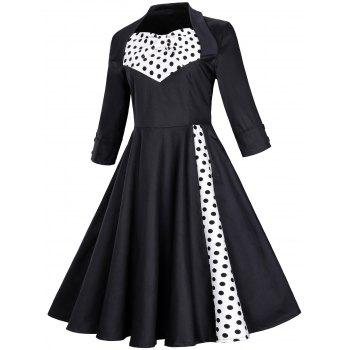 Vintage Polka Dot Bowknot Swing Fit and Flare Dress - BLACK 3XL