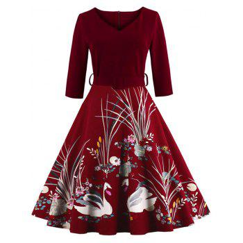 Vintage Printed Fit and Flare Waisted Dress - BURGUNDY BURGUNDY