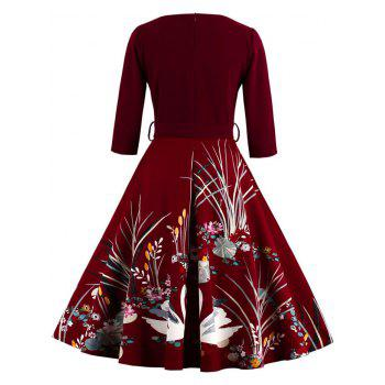 Vintage Printed Fit and Flare Waisted Dress - BURGUNDY M