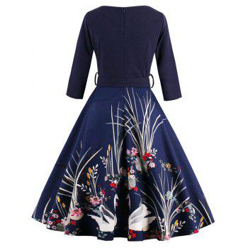 Vintage Printed Fit and Flare Waisted Dress - PURPLISH BLUE 3XL