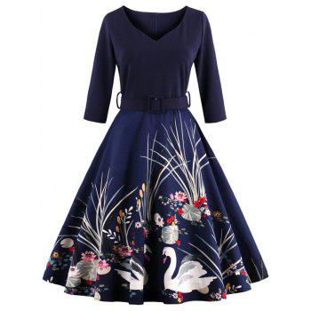 Vintage Printed Fit and Flare Waisted Dress