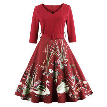 Vintage Printed Fit and Flare Waisted Dress - RED RED