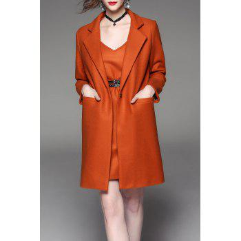 Lapel Wool Blend Coat with Cami Dress