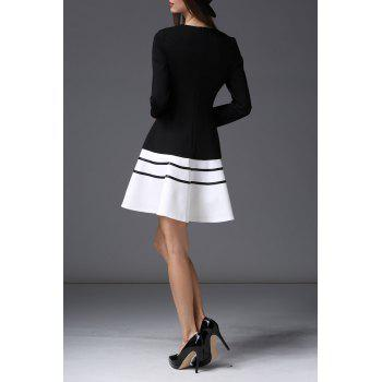 Colorblock Long Sleeve Flare Dress - BLACK XL