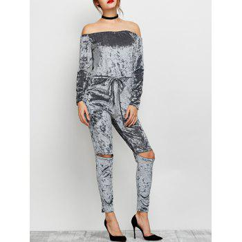 Off The Shoulder Ripped Velvet Jumpsuit