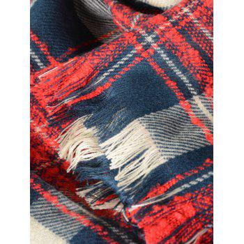 Plaid Pattern Oblong Shawl Scarf with Fringed - RED