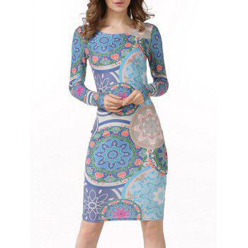 Long Sleeve Ethnic Print Bodycon Dress