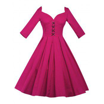 Lace Up Bowknot Vintage Swing Dress