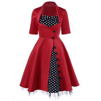 Polka Dot Trim Single Breasted Swing Dress