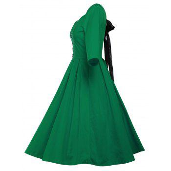 Lace Up Bowknot Vintage Swing Dress - GREEN GREEN