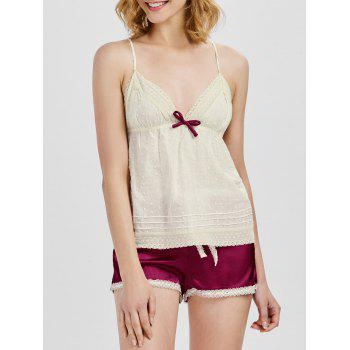 Criss Cross Cami Top with Satin Shorts Loungerwear