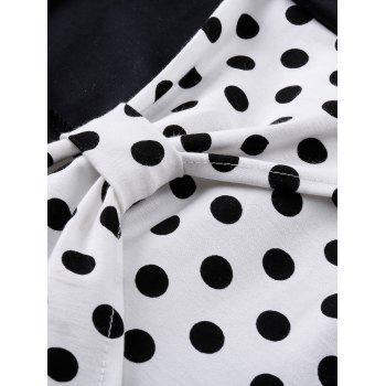 Vintage Polka Dot Bowknot Swing Fit and Flare Dress - BLACK XL