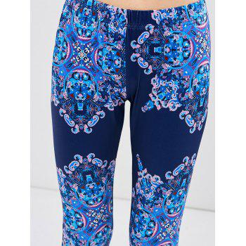 Graphic Elastic Waist Leggings - BLUE S