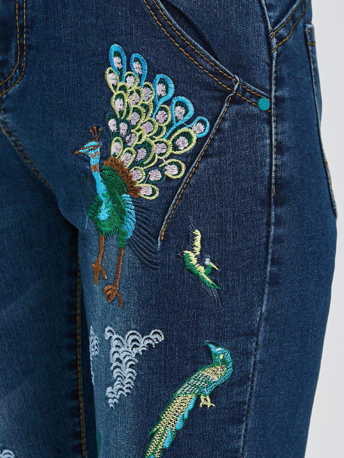 Peacock Embroidered High Waist Jeans - DEEP BLUE 32