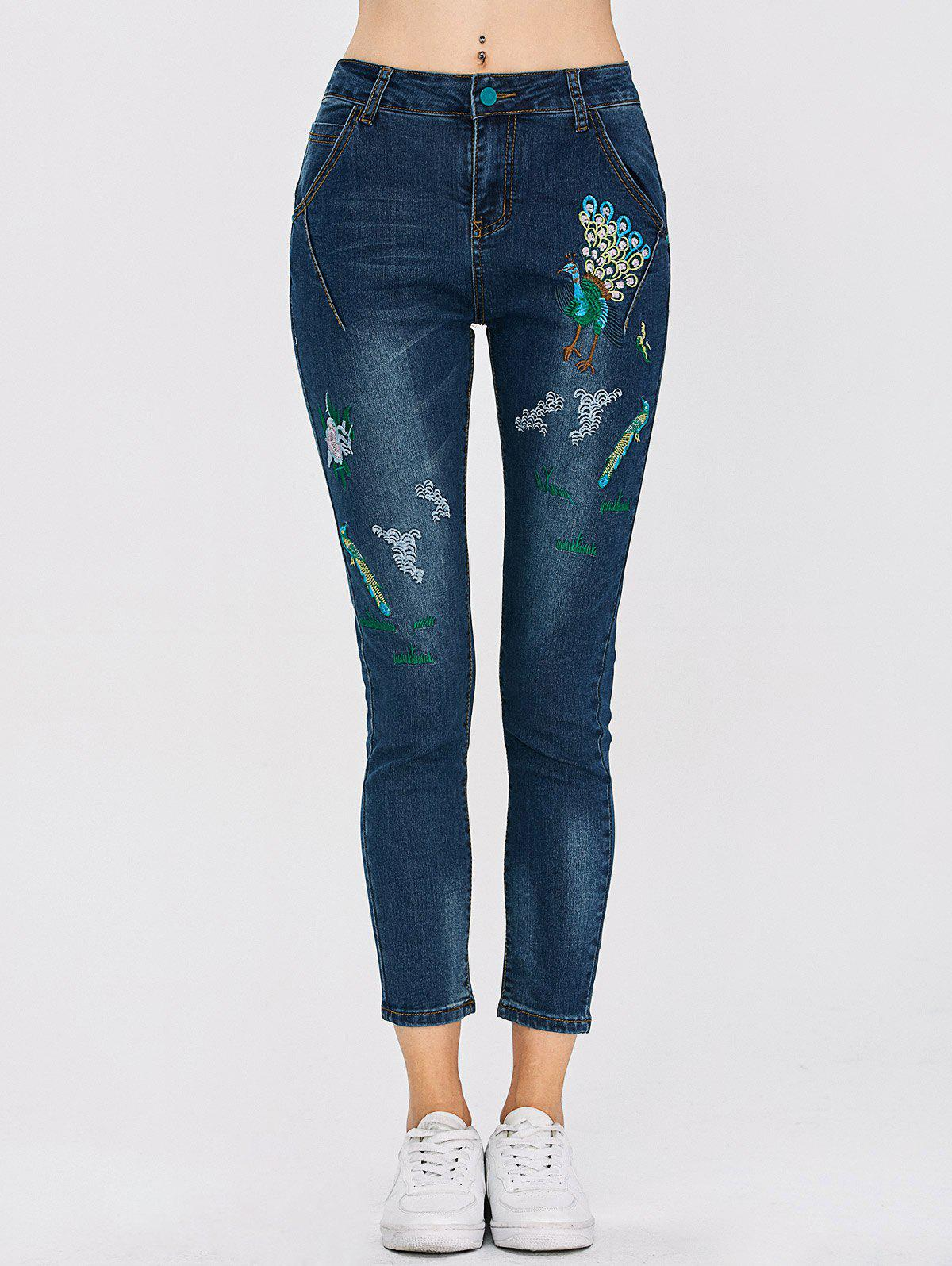 Peacock Embroidered High Waist Jeans - DEEP BLUE 30