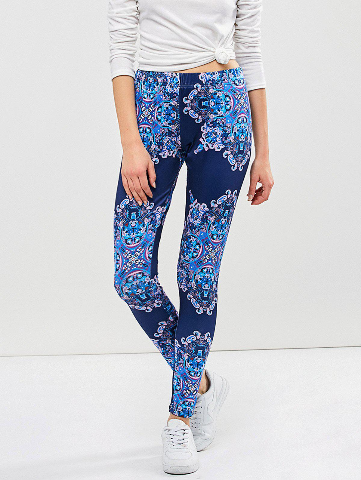 Graphic Elastic Waist Leggings - BLUE XL