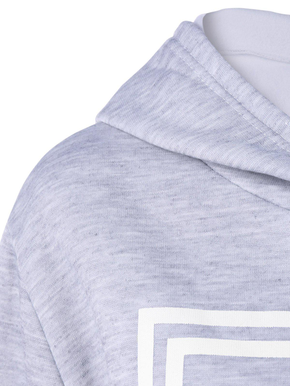 Hooded Letter Graphic Sweatshirt with Jogger Pants - LIGHT GRAY L
