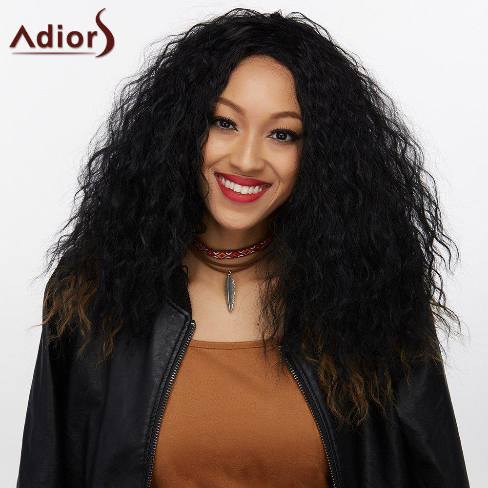 Adiors Synthetic Medium Afro Curly Wig - BLACK/BROWN