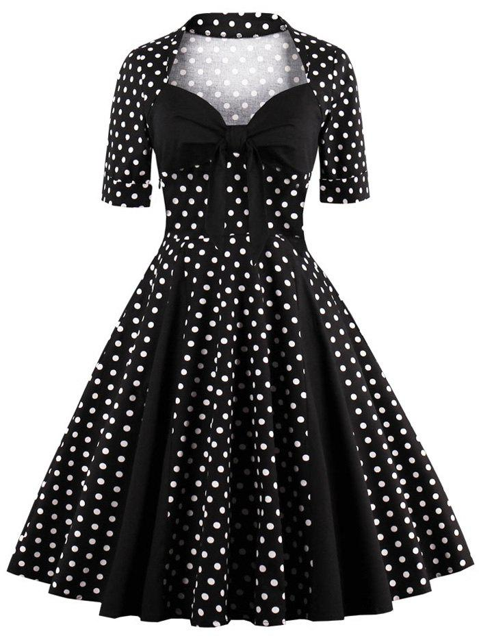 Sweetheart Neck Polka Dot Vintage Dress - BLACK S