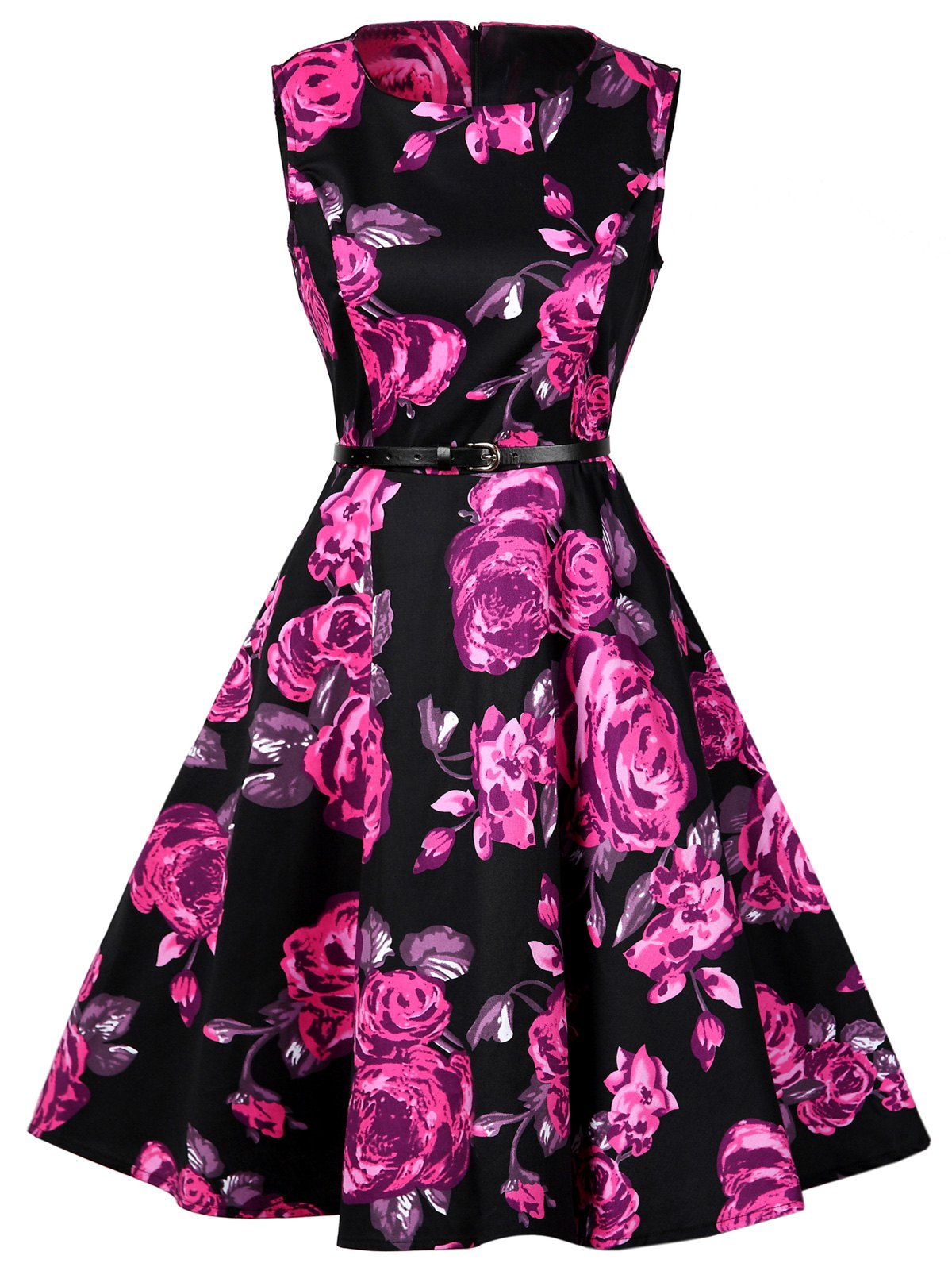 Floral Print Cotton Vintage Formal Dress - FLORAL 2XL
