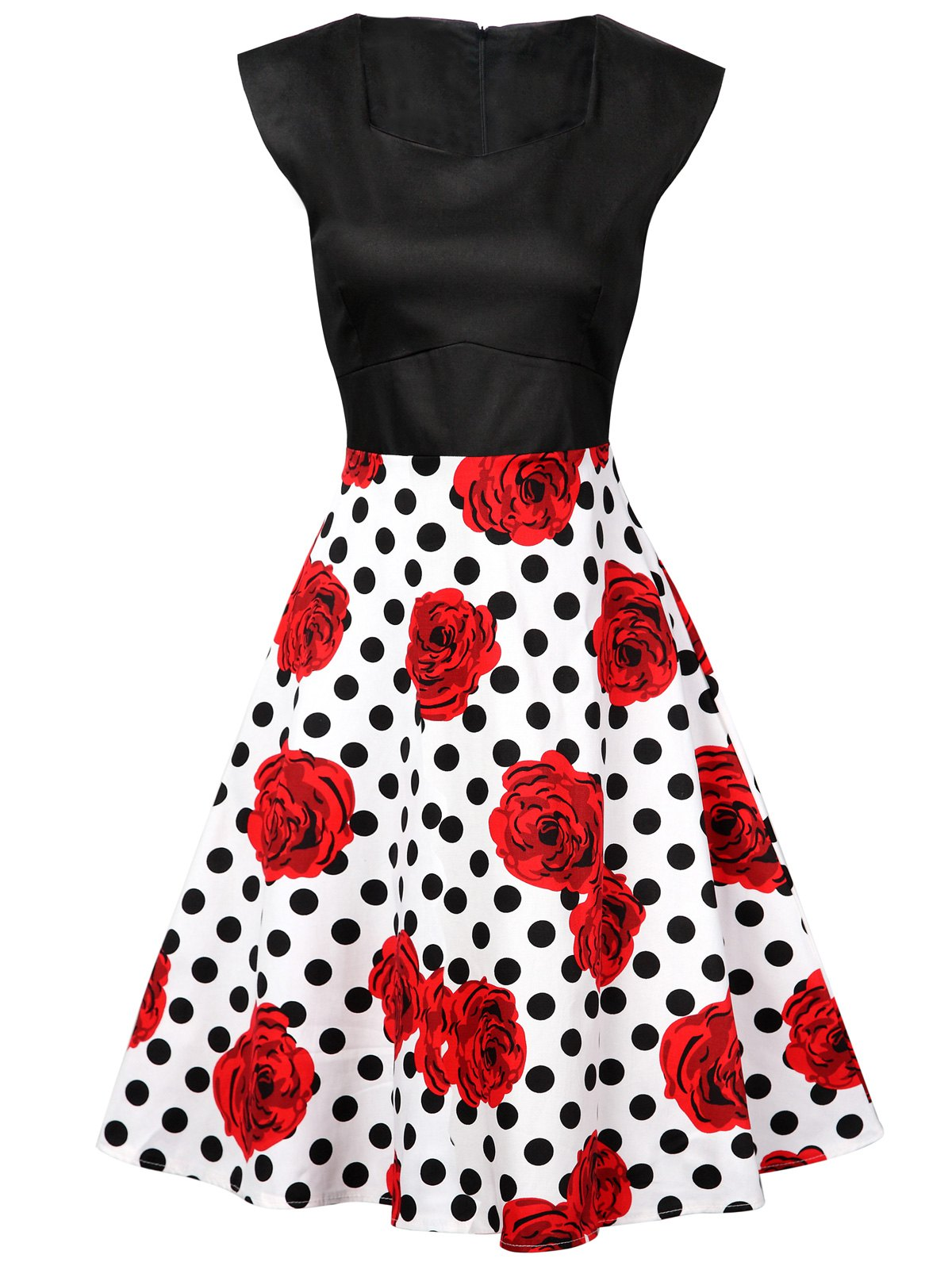Polka Dot Floral Knee Length Flare Dress - BLACK/WHITE/RED XL