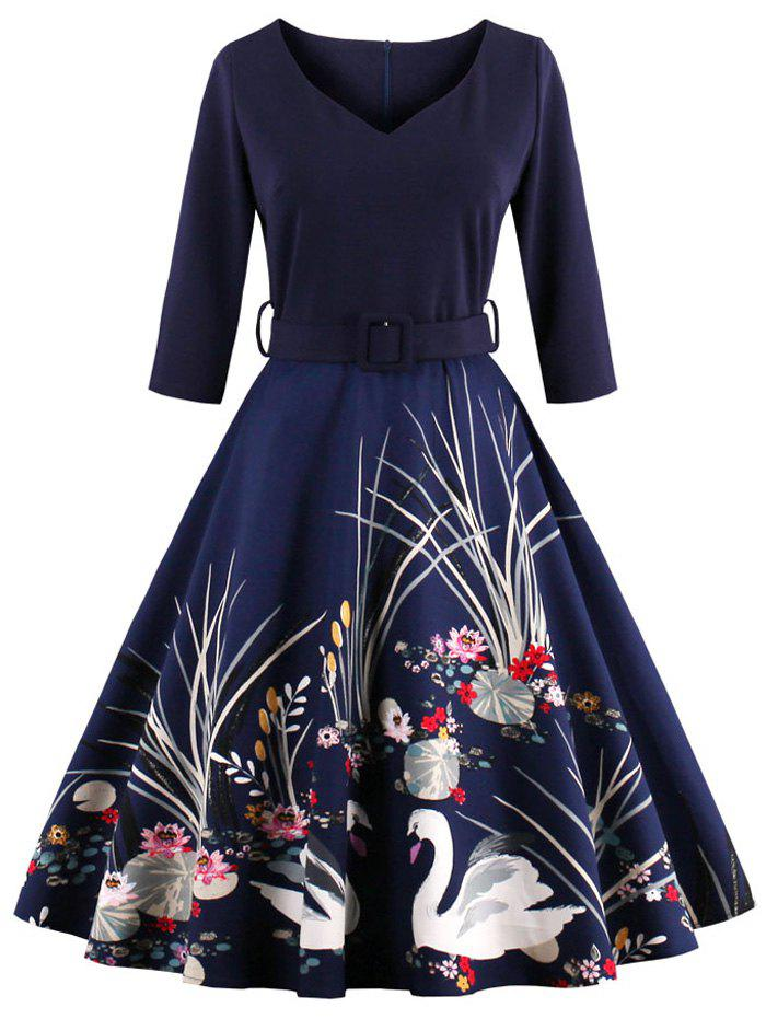 Vintage Printed Fit and Flare Waisted Dress - PURPLISH BLUE L