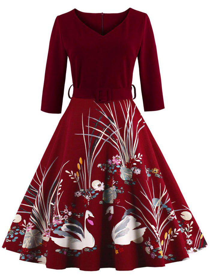 Vintage Printed Fit and Flare Waisted Dress - BURGUNDY S